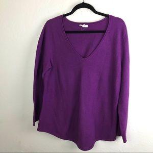 Eileen Fisher Cotton Sweater V Neck Medium